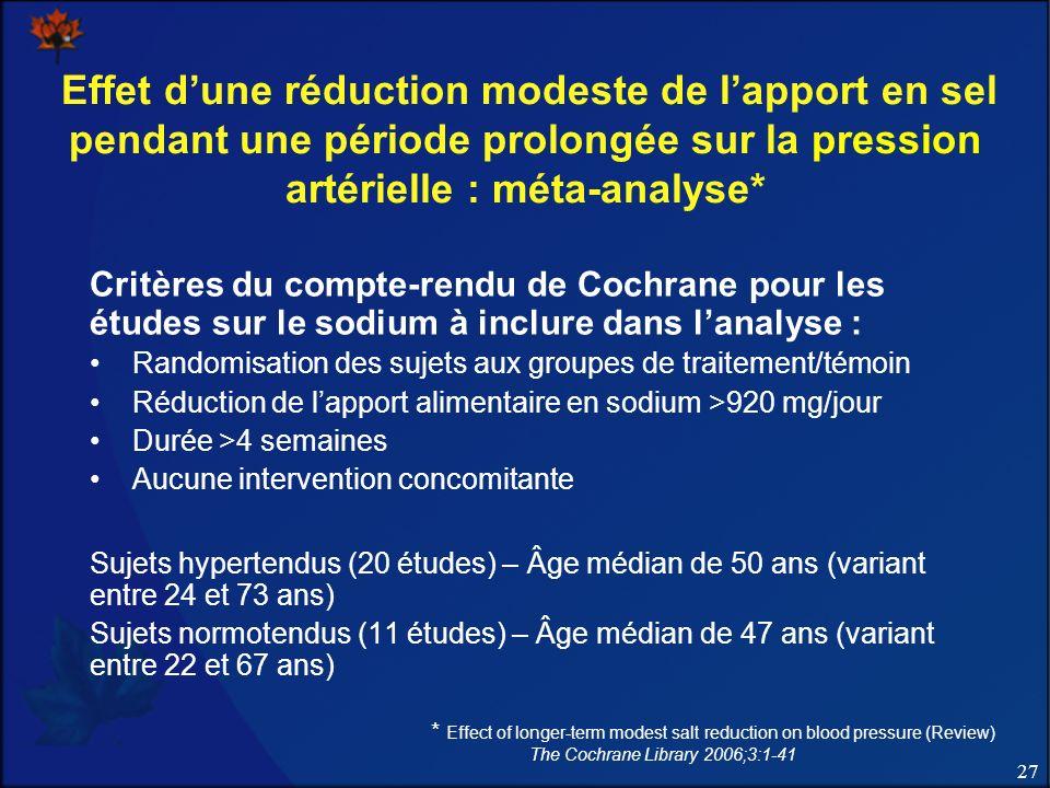 27 Effet dune réduction modeste de lapport en sel pendant une période prolongée sur la pression artérielle : méta-analyse* Critères du compte-rendu de