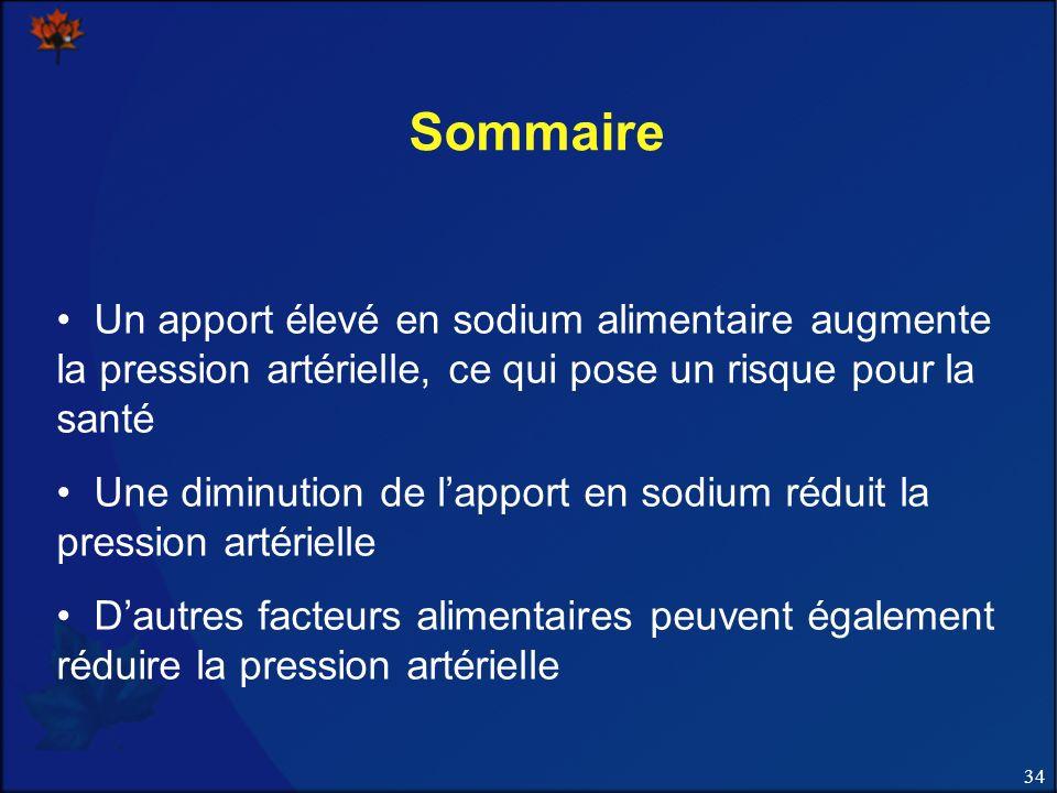 34 Sommaire Un apport élevé en sodium alimentaire augmente la pression artérielle, ce qui pose un risque pour la santé Une diminution de lapport en sodium réduit la pression artérielle Dautres facteurs alimentaires peuvent également réduire la pression artérielle
