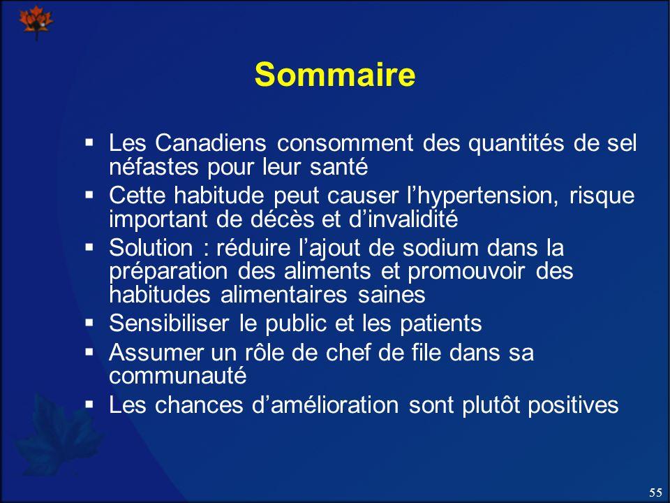 55 Sommaire Les Canadiens consomment des quantités de sel néfastes pour leur santé Cette habitude peut causer lhypertension, risque important de décès