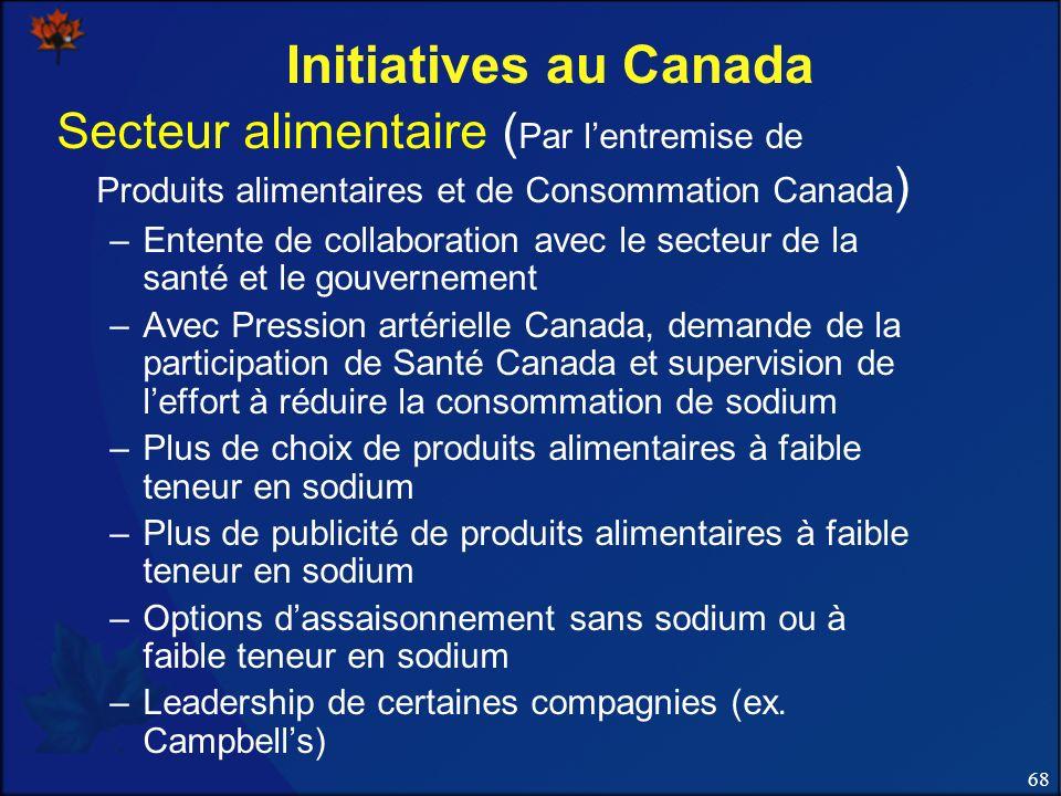 68 Initiatives au Canada Secteur alimentaire ( Par lentremise de Produits alimentaires et de Consommation Canada ) –Entente de collaboration avec le s