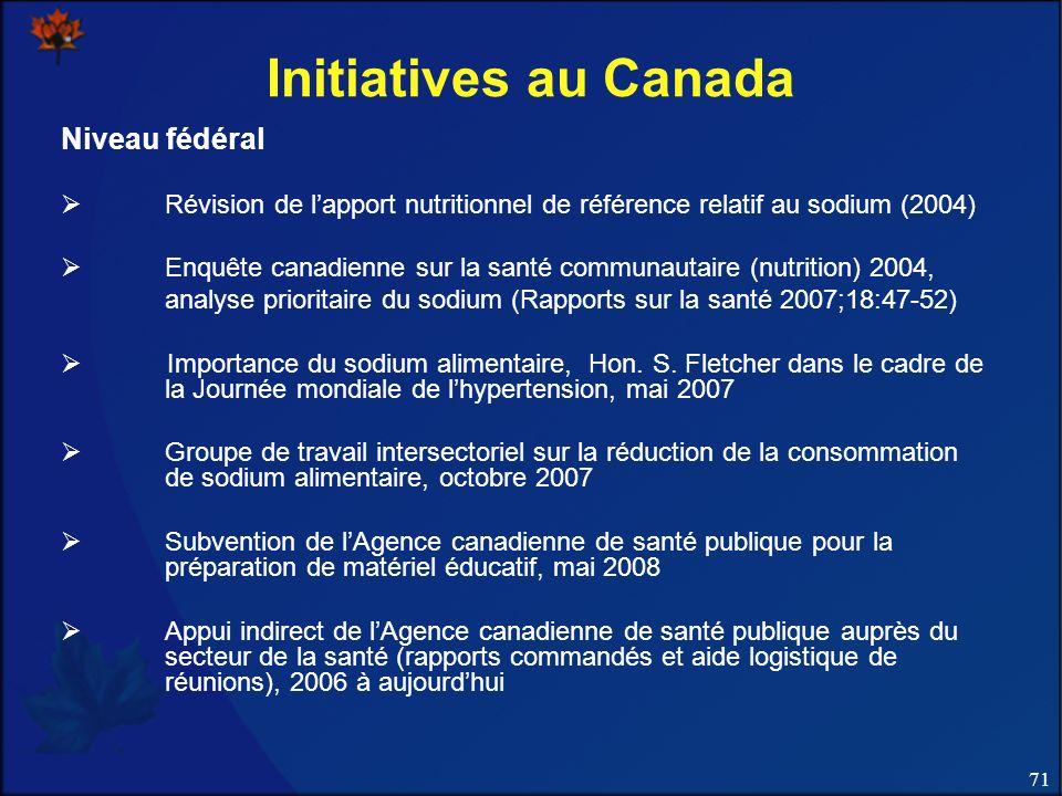 71 Initiatives au Canada Niveau fédéral Révision de lapport nutritionnel de référence relatif au sodium (2004) Enquête canadienne sur la santé communautaire (nutrition) 2004, analyse prioritaire du sodium (Rapports sur la santé 2007;18:47-52) Importance du sodium alimentaire, Hon.