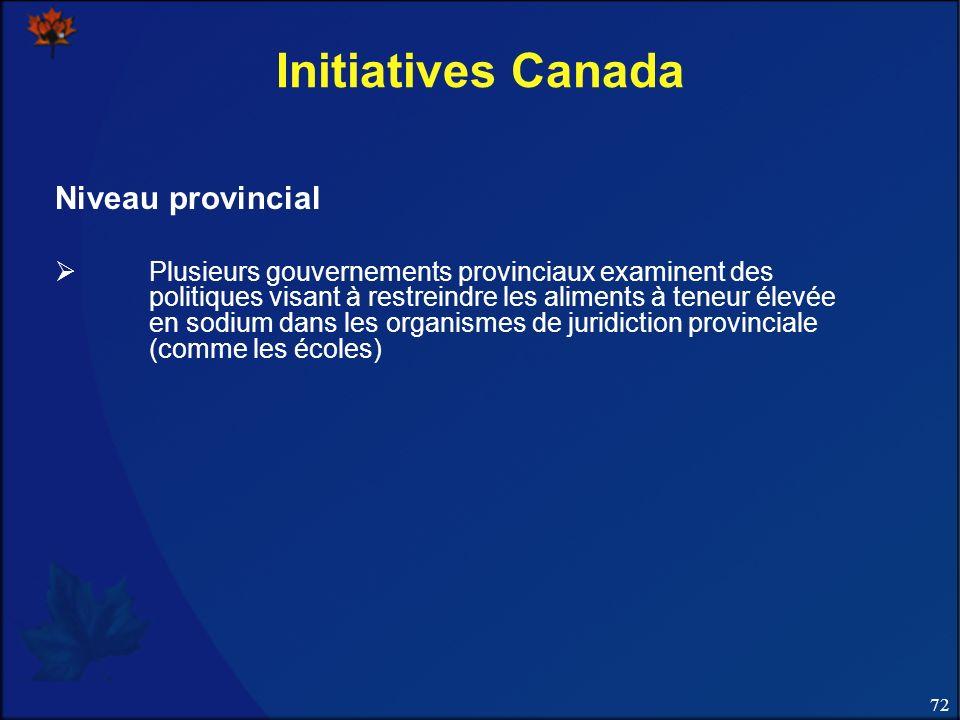 72 Initiatives Canada Niveau provincial Plusieurs gouvernements provinciaux examinent des politiques visant à restreindre les aliments à teneur élevée en sodium dans les organismes de juridiction provinciale (comme les écoles)