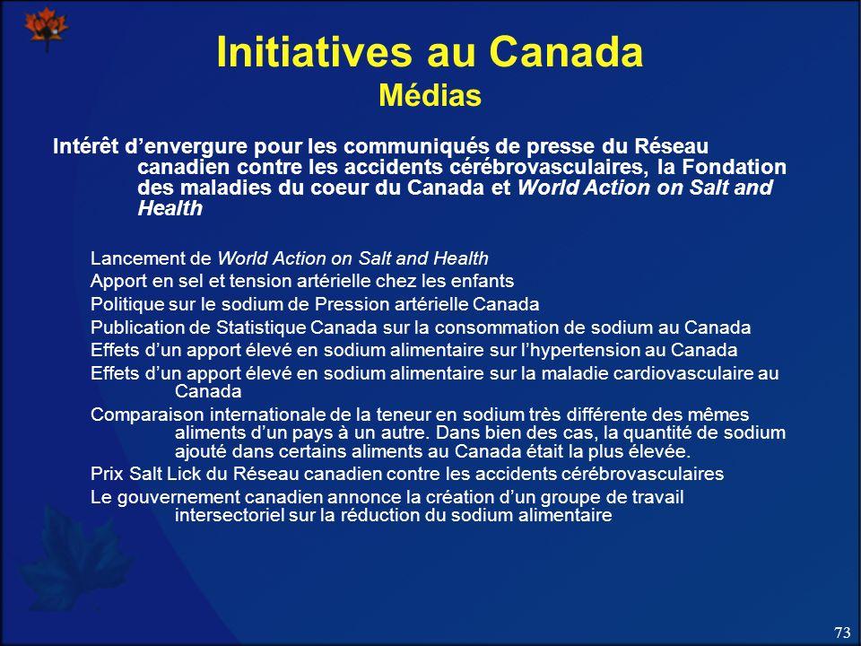 73 Initiatives au Canada Médias Intérêt denvergure pour les communiqués de presse du Réseau canadien contre les accidents cérébrovasculaires, la Fonda