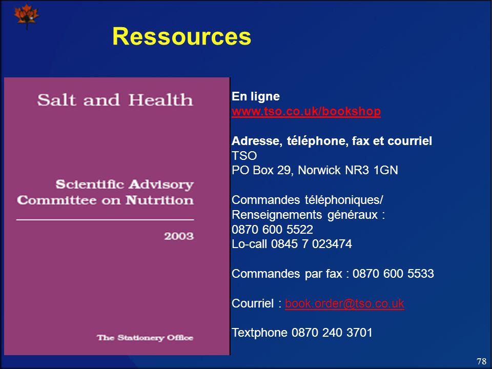78 Ressources En ligne www.tso.co.uk/bookshop Adresse, téléphone, fax et courriel TSO PO Box 29, Norwick NR3 1GN Commandes téléphoniques/ Renseignements généraux : 0870 600 5522 Lo-call 0845 7 023474 Commandes par fax : 0870 600 5533 Courriel : book.order@tso.co.ukbook.order@tso.co.uk Textphone 0870 240 3701
