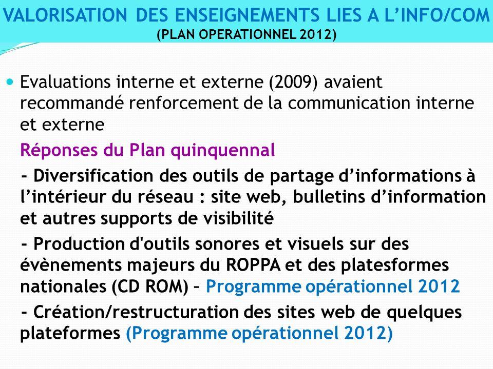 Evaluations interne et externe (2009) avaient recommandé renforcement de la communication interne et externe Réponses du Plan quinquennal - Diversific