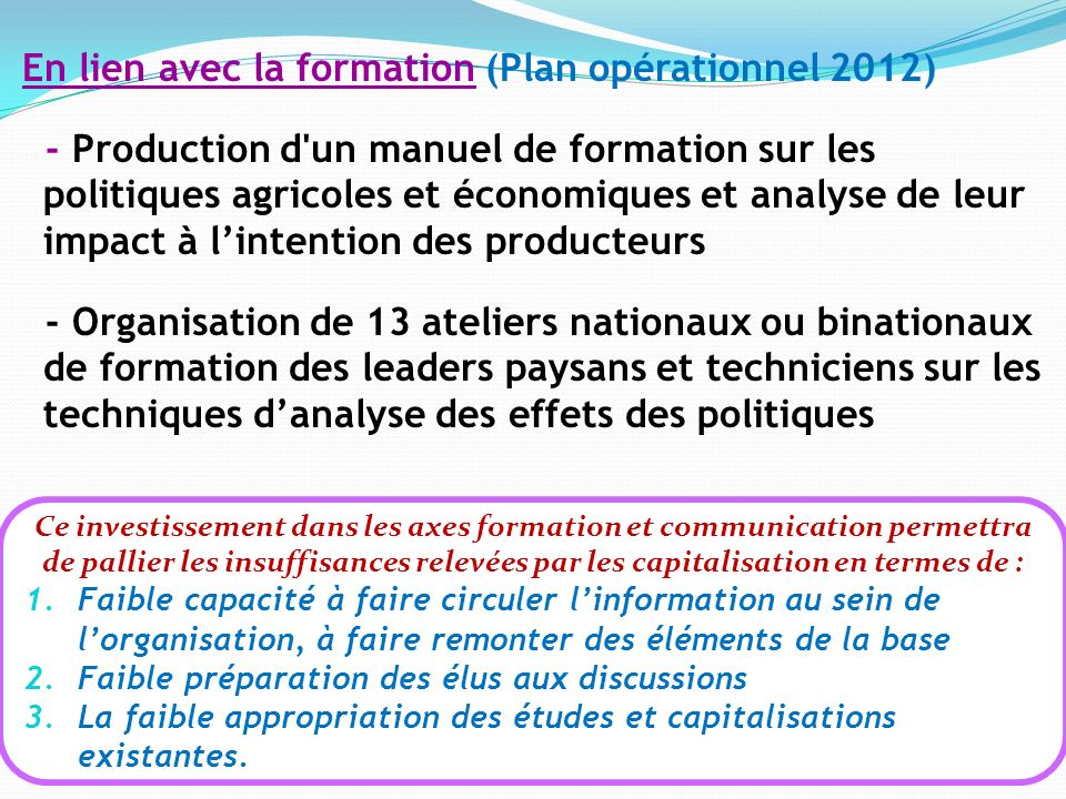 En lien avec la formation (Plan opérationnel 2012) - Production d'un manuel de formation sur les politiques agricoles et économiques et analyse de leu
