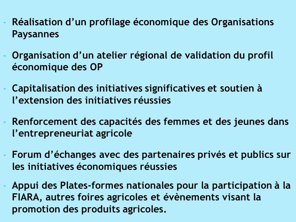 - Réalisation dun profilage économique des Organisations Paysannes - Organisation dun atelier régional de validation du profil économique des OP - Cap