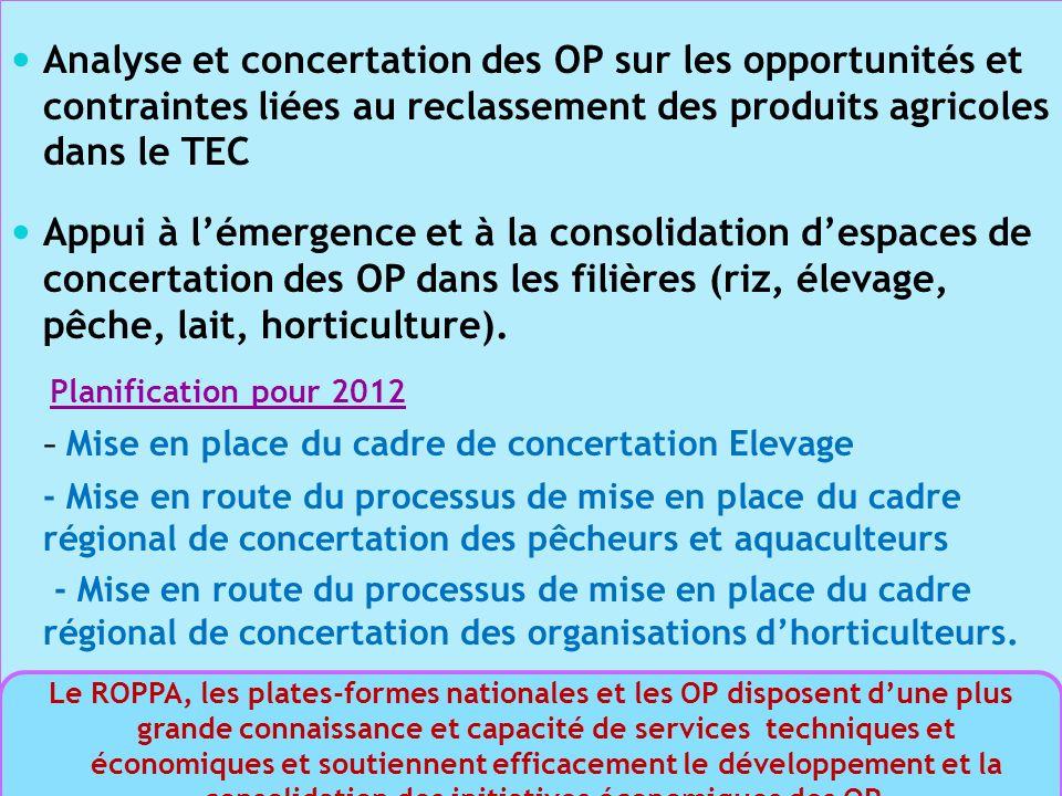 Analyse et concertation des OP sur les opportunités et contraintes liées au reclassement des produits agricoles dans le TEC Appui à lémergence et à la