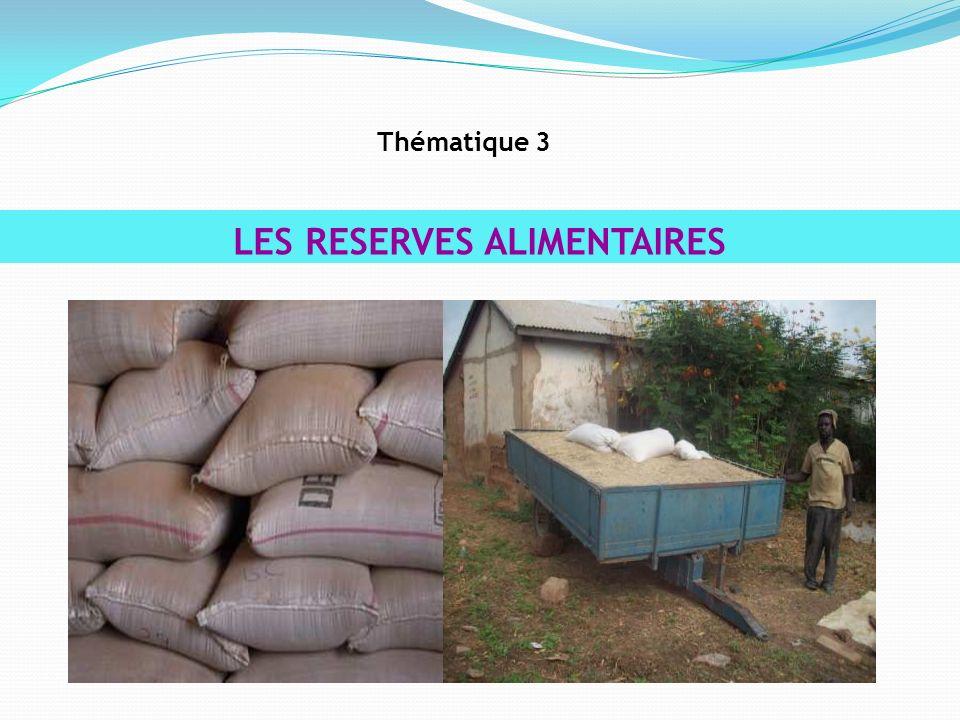 LES RESERVES ALIMENTAIRES Thématique 3