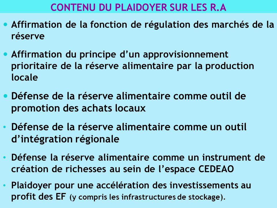 Affirmation de la fonction de régulation des marchés de la réserve Affirmation du principe dun approvisionnement prioritaire de la réserve alimentaire