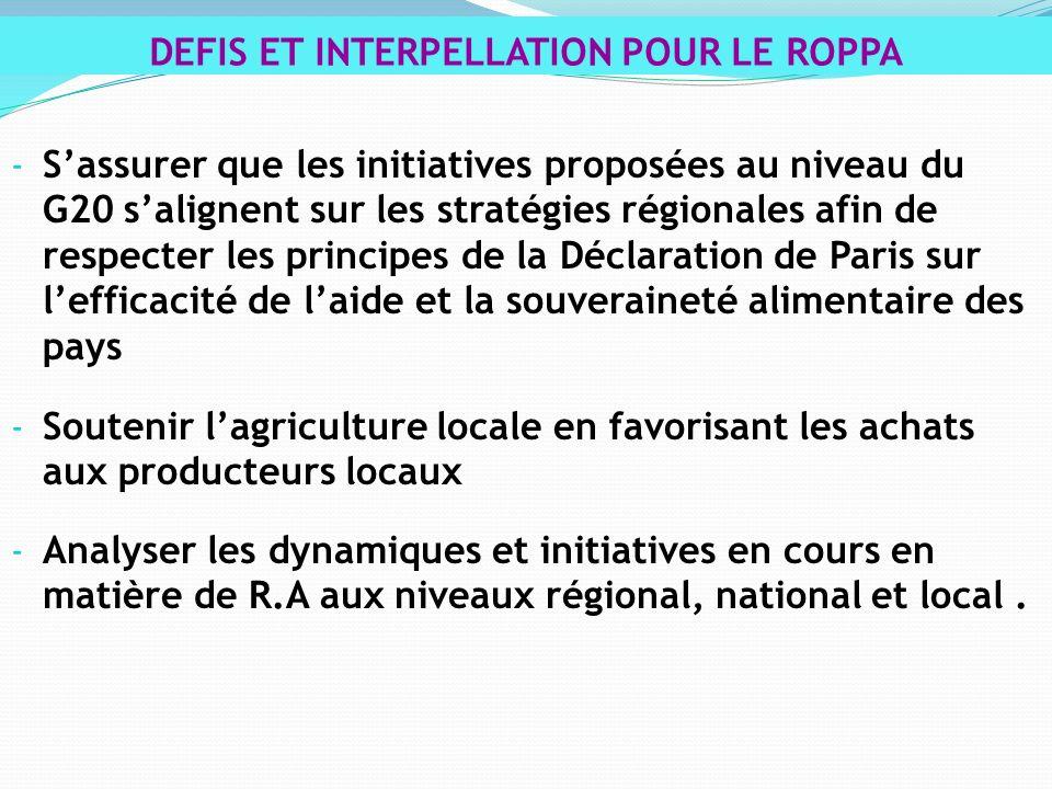- Sassurer que les initiatives proposées au niveau du G20 salignent sur les stratégies régionales afin de respecter les principes de la Déclaration de Paris sur lefficacité de laide et la souveraineté alimentaire des pays - Soutenir lagriculture locale en favorisant les achats aux producteurs locaux - Analyser les dynamiques et initiatives en cours en matière de R.A aux niveaux régional, national et local.