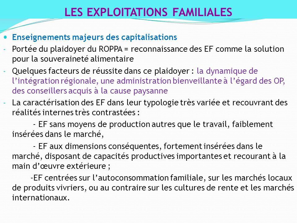 Enseignements majeurs des capitalisations - Portée du plaidoyer du ROPPA = reconnaissance des EF comme la solution pour la souveraineté alimentaire -