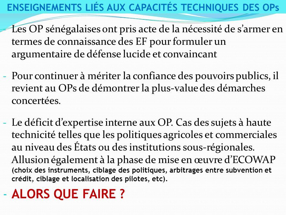 - Les OP sénégalaises ont pris acte de la nécessité de sarmer en termes de connaissance des EF pour formuler un argumentaire de défense lucide et conv