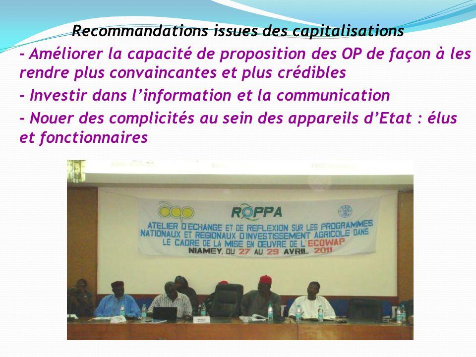 Recommandations issues des capitalisations - Améliorer la capacité de proposition des OP de façon à les rendre plus convaincantes et plus crédibles -