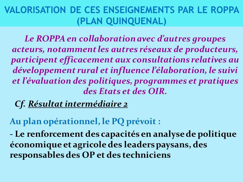Le ROPPA en collaboration avec dautres groupes acteurs, notamment les autres réseaux de producteurs, participent efficacement aux consultations relatives au développement rural et influence lélaboration, le suivi et lévaluation des politiques, programmes et pratiques des Etats et des OIR.
