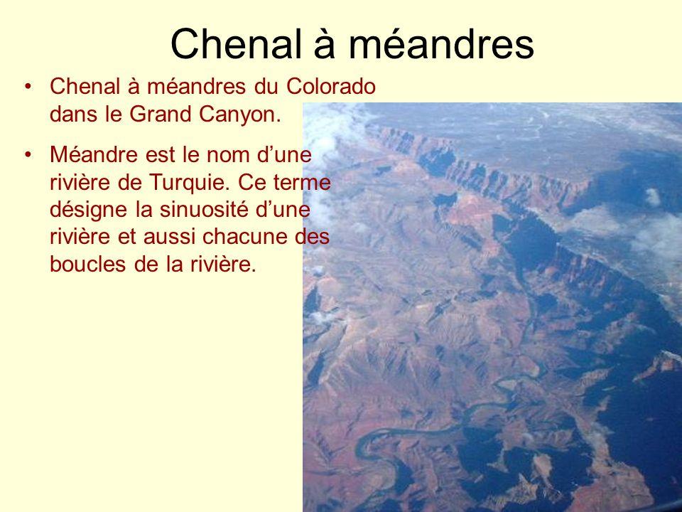 Chenal à méandres Chenal à méandres du Colorado dans le Grand Canyon. Méandre est le nom dune rivière de Turquie. Ce terme désigne la sinuosité dune r
