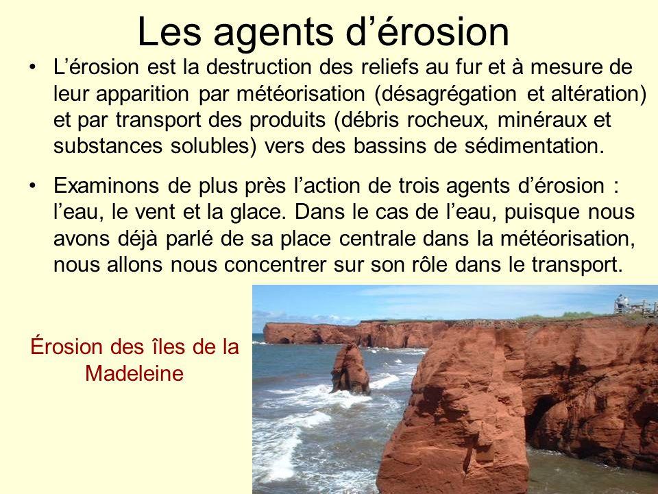 Les agents dérosion Lérosion est la destruction des reliefs au fur et à mesure de leur apparition par météorisation (désagrégation et altération) et p