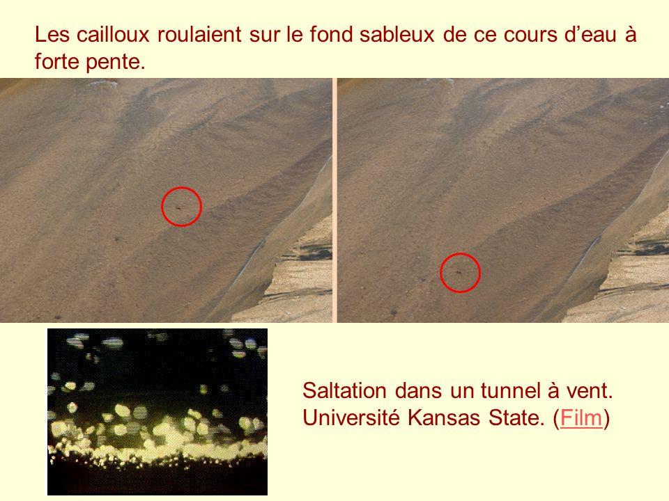 Les cailloux roulaient sur le fond sableux de ce cours deau à forte pente. Saltation dans un tunnel à vent. Université Kansas State. (Film)Film
