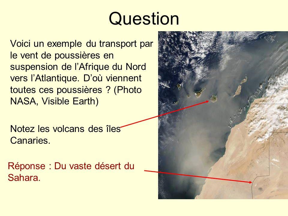 Question Voici un exemple du transport par le vent de poussières en suspension de lAfrique du Nord vers lAtlantique. Doù viennent toutes ces poussière