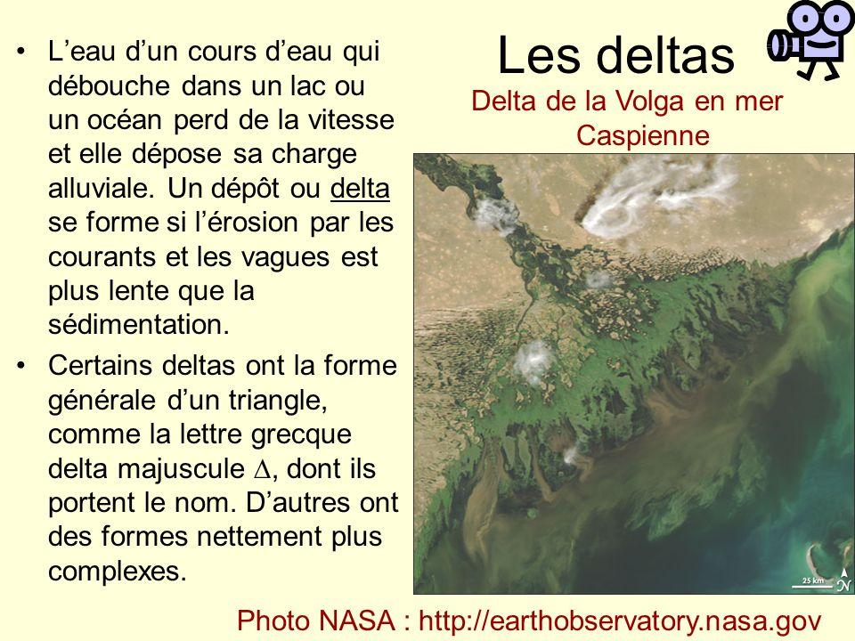 Les deltas Leau dun cours deau qui débouche dans un lac ou un océan perd de la vitesse et elle dépose sa charge alluviale. Un dépôt ou delta se forme