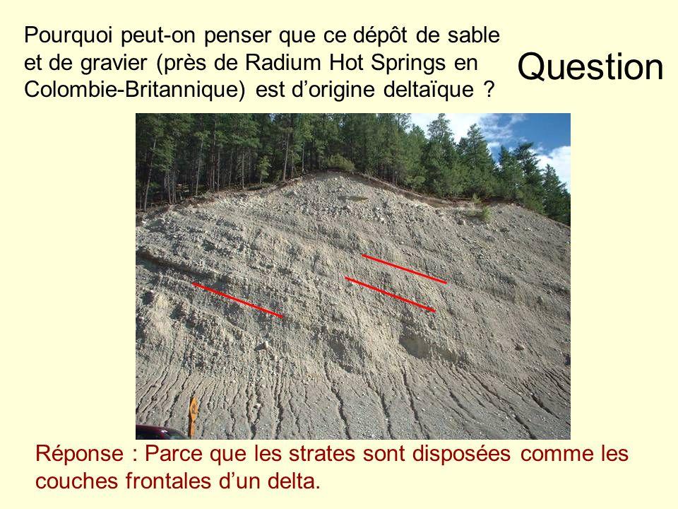 Question Pourquoi peut-on penser que ce dépôt de sable et de gravier (près de Radium Hot Springs en Colombie-Britannique) est dorigine deltaïque ? Rép