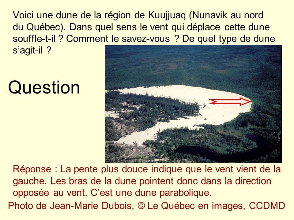 Question Voici une dune de la région de Kuujjuaq (Nunavik au nord du Québec). Dans quel sens le vent qui déplace cette dune souffle-t-il ? Comment le