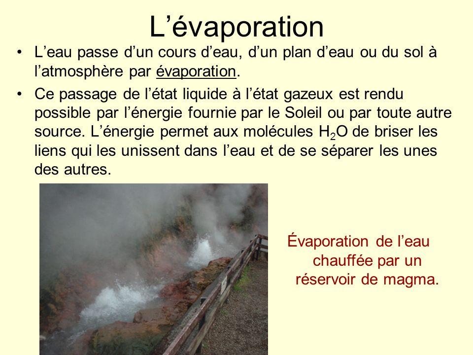 Lévaporation Leau passe dun cours deau, dun plan deau ou du sol à latmosphère par évaporation. Ce passage de létat liquide à létat gazeux est rendu po