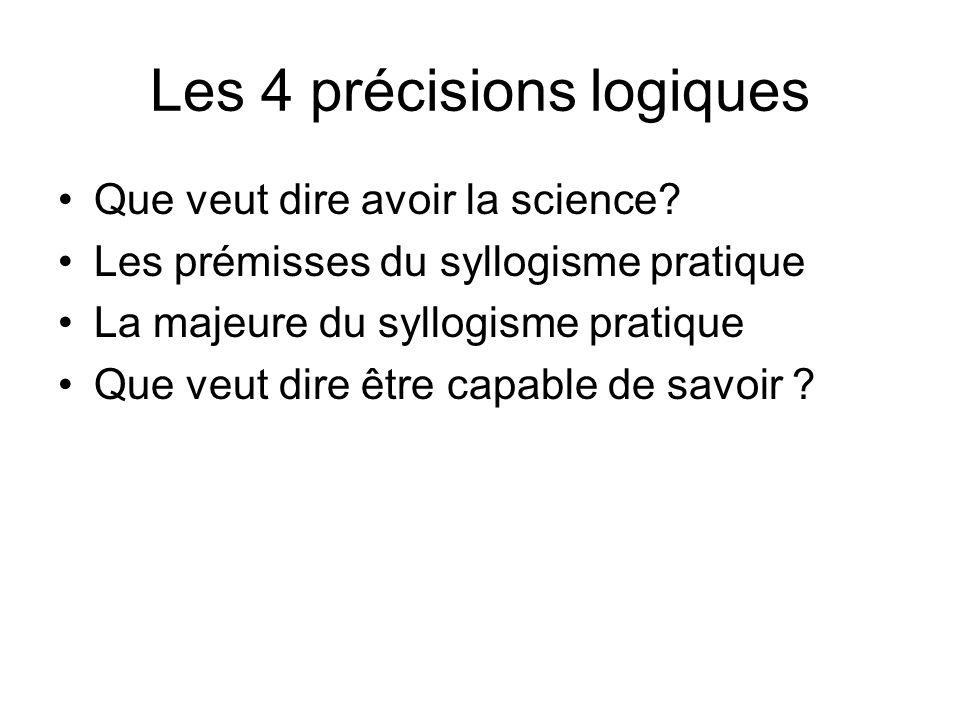 Les 4 précisions logiques Que veut dire avoir la science? Les prémisses du syllogisme pratique La majeure du syllogisme pratique Que veut dire être ca