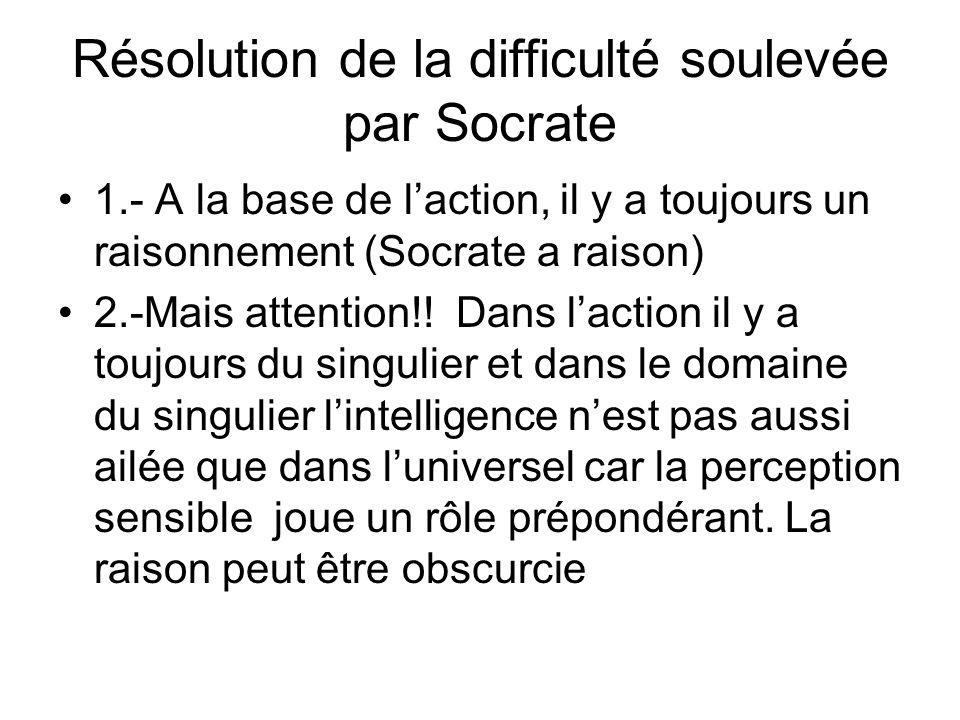 Résolution de la difficulté soulevée par Socrate 1.- A la base de laction, il y a toujours un raisonnement (Socrate a raison) 2.-Mais attention!! Dans