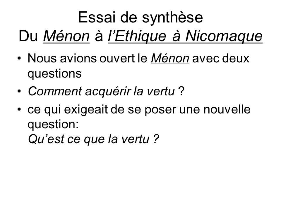 Essai de synthèse Du Ménon à lEthique à Nicomaque Nous avions ouvert le Ménon avec deux questions Comment acquérir la vertu ? ce qui exigeait de se po