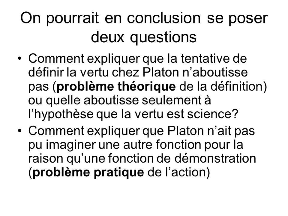 On pourrait en conclusion se poser deux questions Comment expliquer que la tentative de définir la vertu chez Platon naboutisse pas (problème théoriqu