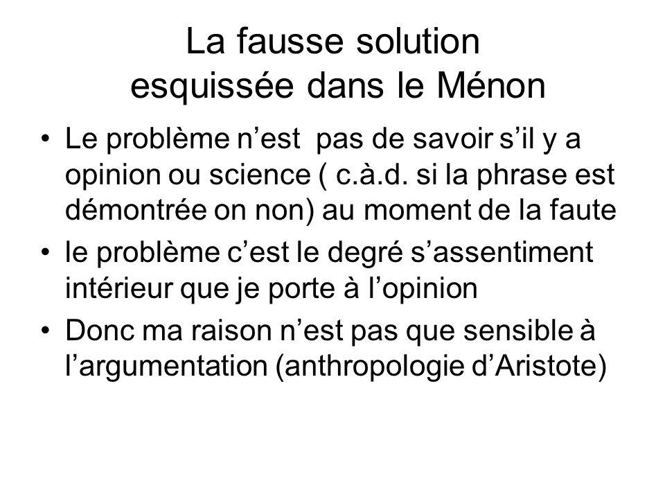 La fausse solution esquissée dans le Ménon Le problème nest pas de savoir sil y a opinion ou science ( c.à.d. si la phrase est démontrée on non) au mo