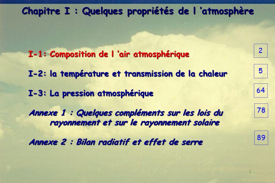 1 Chapitre I : Quelques propriétés de l atmosphère I-1: Composition de l air atmosphérique I-2: la température et transmission de la chaleur I-3: La p