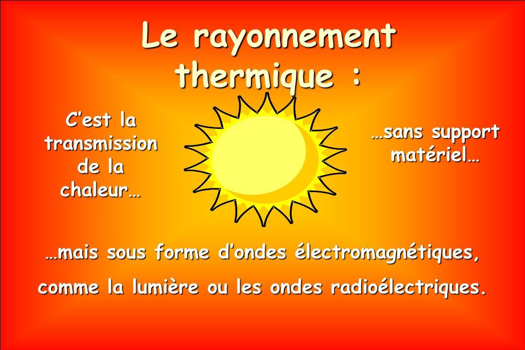 Le rayonnement thermique : …mais sous forme dondes électromagnétiques, comme la lumière ou les ondes radioélectriques. Cest la transmission de la chal