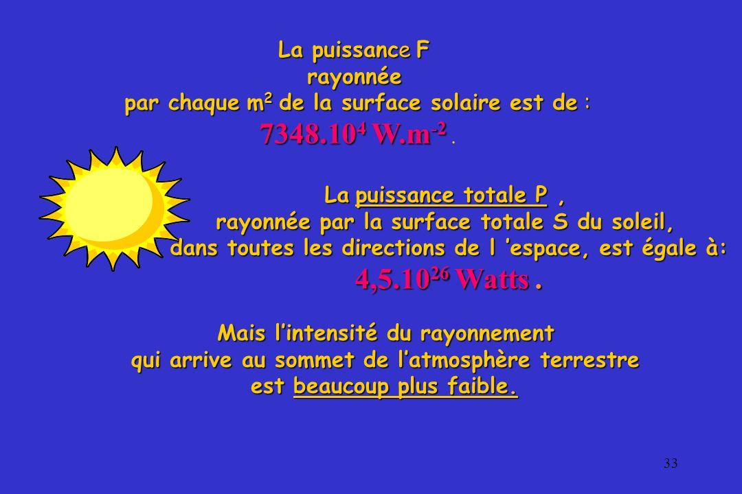 33 La puissance F rayonnée par chaque m 2 de la surface solaire est de : 7348.10 4 W.m -2 7348.10 4 W.m -2. La puissance totale P, rayonnée par la sur
