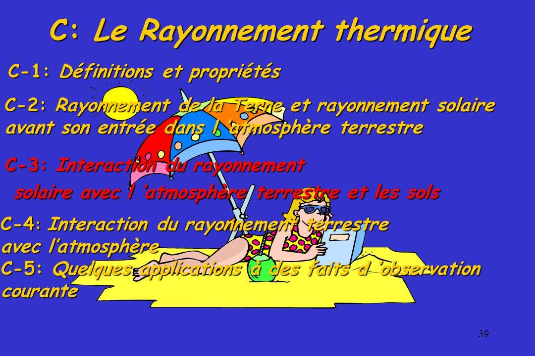 39 C: Le Rayonnement thermique C-3: Interaction du rayonnement solaire avec l atmosphère terrestre et les sols solaire avec l atmosphère terrestre et