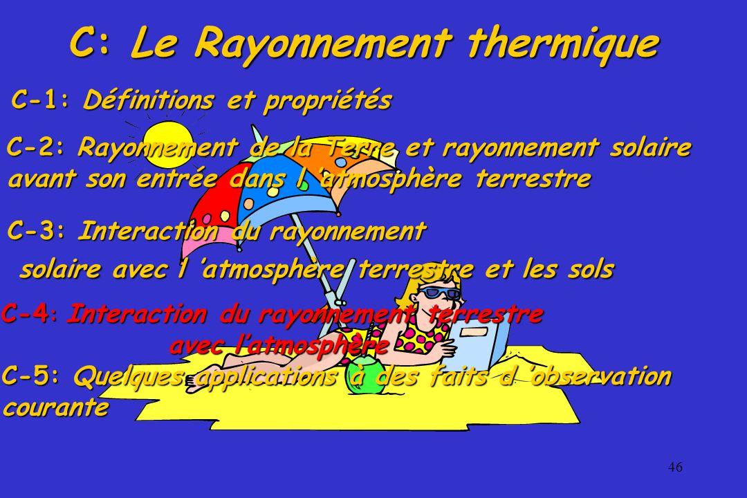 46 C: Le Rayonnement thermique C-3: Interaction du rayonnement solaire avec l atmosphère terrestre et les sols solaire avec l atmosphère terrestre et