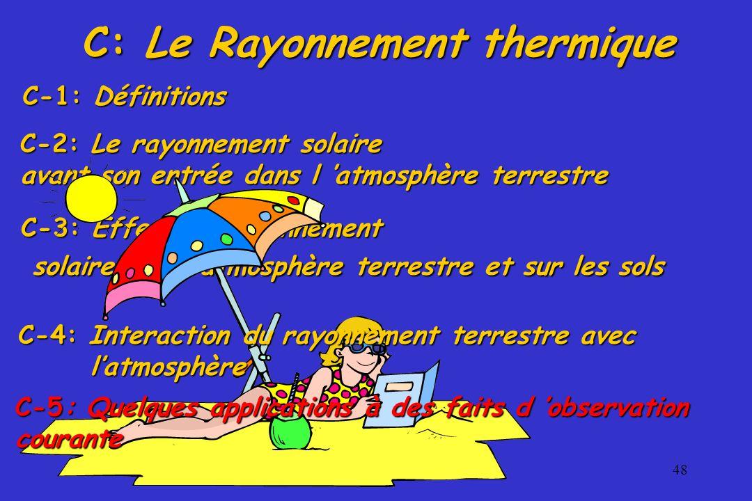 48 C-3: Effets du rayonnement solaire sur l atmosphère terrestre et sur les sols solaire sur l atmosphère terrestre et sur les sols C-2: Le rayonnemen
