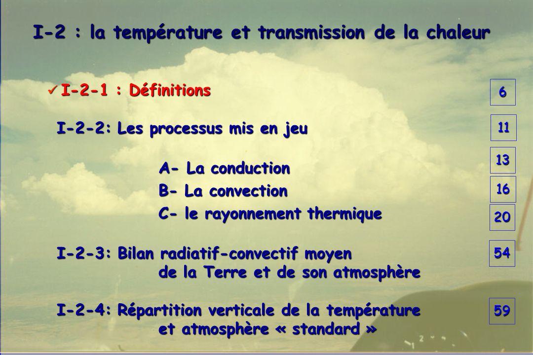 6 I-2 : la température et transmission de la chaleur I-2 : la température et transmission de la chaleur I-2-1 : Définitions I-2-1 : Définitions I-2-2: