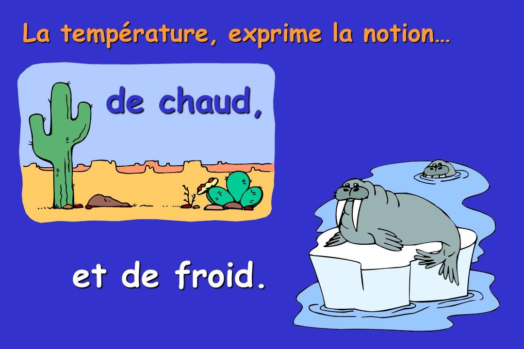 La température, exprime la notion… de chaud, et de froid.