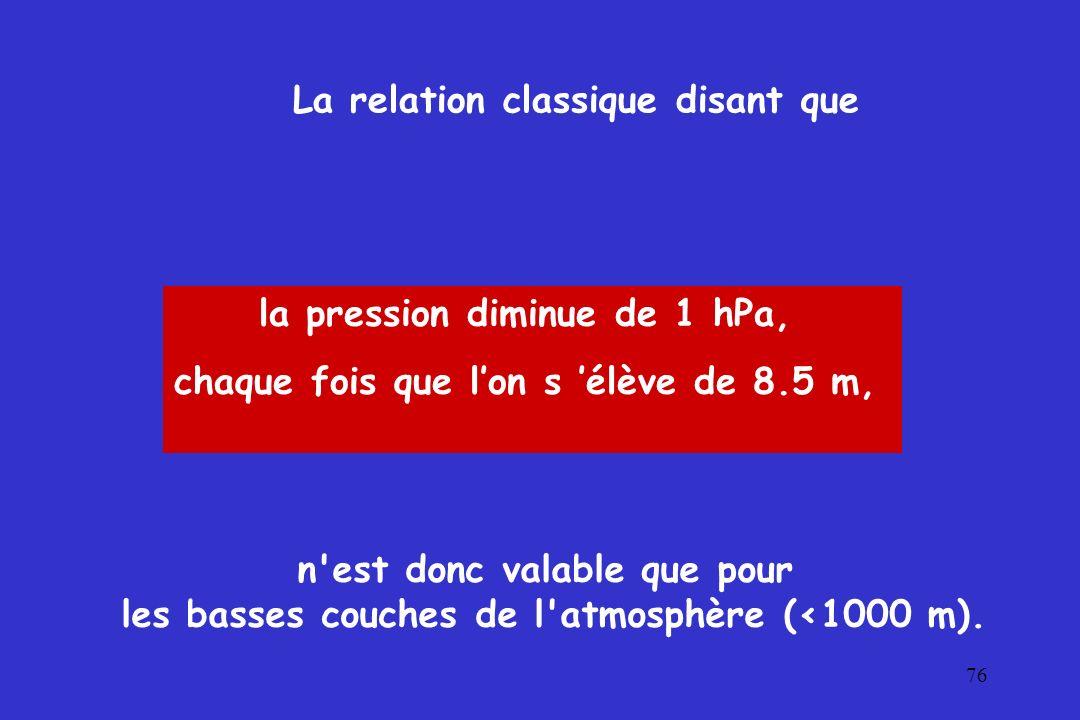 76 La relation classique disant que la pression diminue de 1 hPa, chaque fois que lon s élève de 8.5 m, n'est donc valable que pour les basses couches