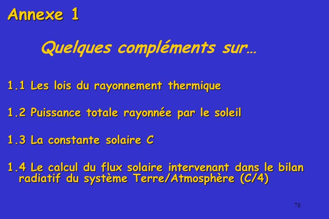 78 Quelques compléments sur… 1.1 Les lois du rayonnement thermique 1.2 Puissance totale rayonnée par le soleil 1.3 La constante solaire C 1.4 Le calcu