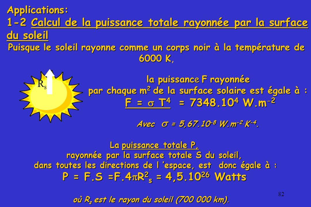 82 Applications: 1-2 Calcul de la puissance totale rayonnée par la surface du soleil la puissance F rayonnée par chaque m 2 de la surface solaire est