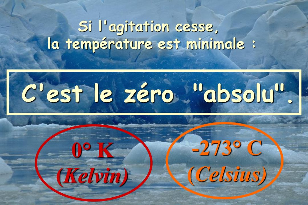 9 Si l'agitation cesse, la température est minimale : la température est minimale : C'est le zéro