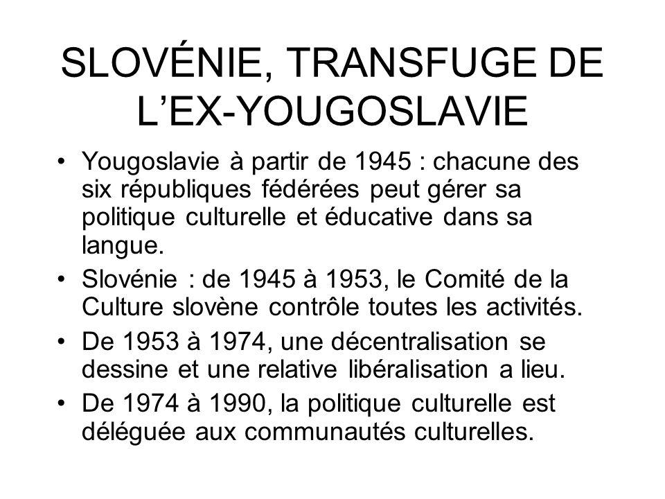 SLOVÉNIE, TRANSFUGE DE LEX-YOUGOSLAVIE Yougoslavie à partir de 1945 : chacune des six républiques fédérées peut gérer sa politique culturelle et éduca