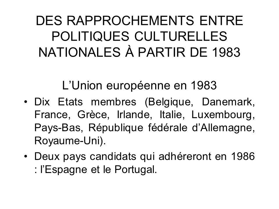 DES RAPPROCHEMENTS ENTRE POLITIQUES CULTURELLES NATIONALES À PARTIR DE 1983 LUnion européenne en 1983 Dix Etats membres (Belgique, Danemark, France, G