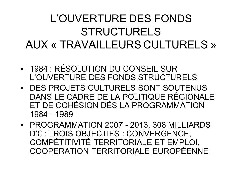 LOUVERTURE DES FONDS STRUCTURELS AUX « TRAVAILLEURS CULTURELS » 1984 : RÉSOLUTION DU CONSEIL SUR LOUVERTURE DES FONDS STRUCTURELS DES PROJETS CULTUREL