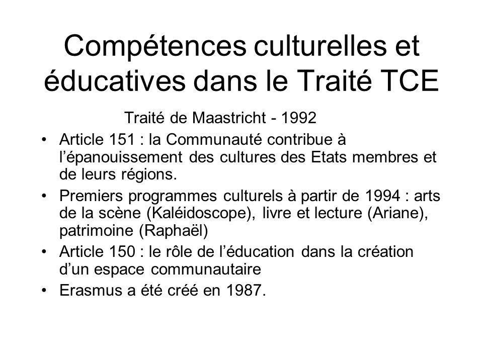 Compétences culturelles et éducatives dans le Traité TCE Traité de Maastricht - 1992 Article 151 : la Communauté contribue à lépanouissement des cultu