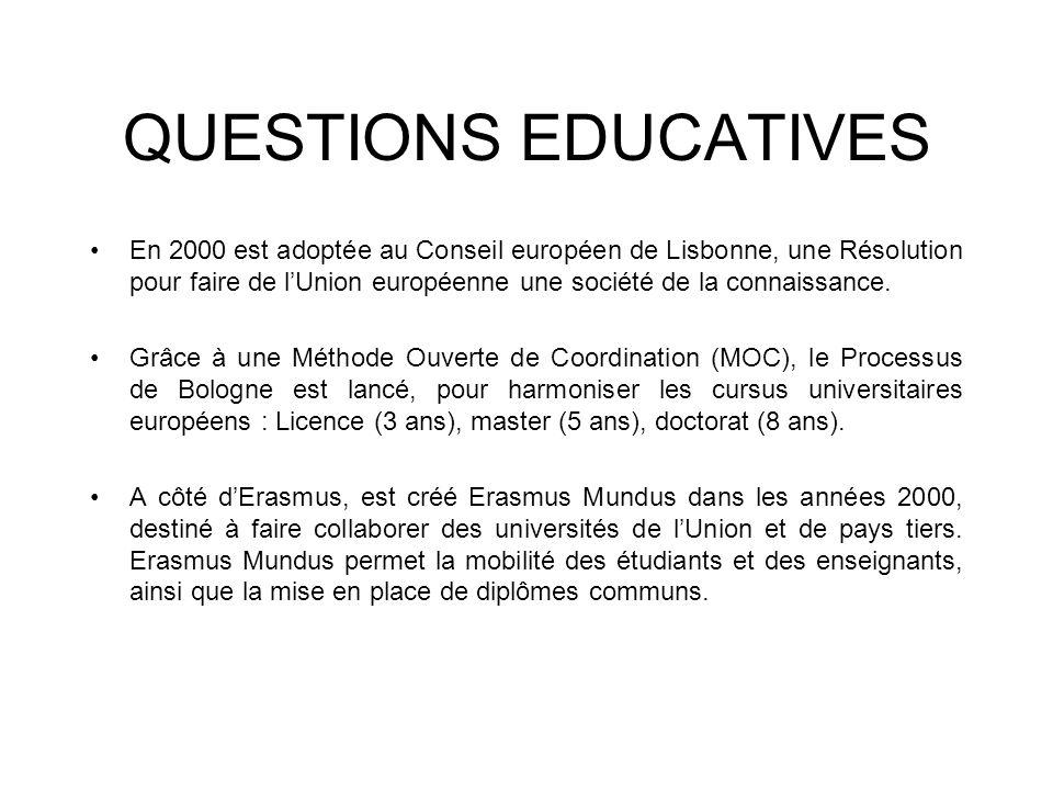 QUESTIONS EDUCATIVES En 2000 est adoptée au Conseil européen de Lisbonne, une Résolution pour faire de lUnion européenne une société de la connaissanc