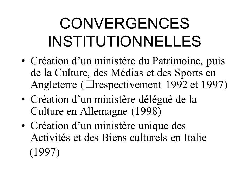 CONVERGENCES INSTITUTIONNELLES Création dun ministère du Patrimoine, puis de la Culture, des Médias et des Sports en Angleterre (respectivement 1992 e